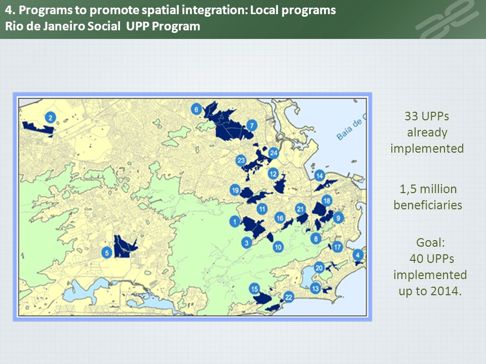 4. Programs to promote spatial integration: Local programs