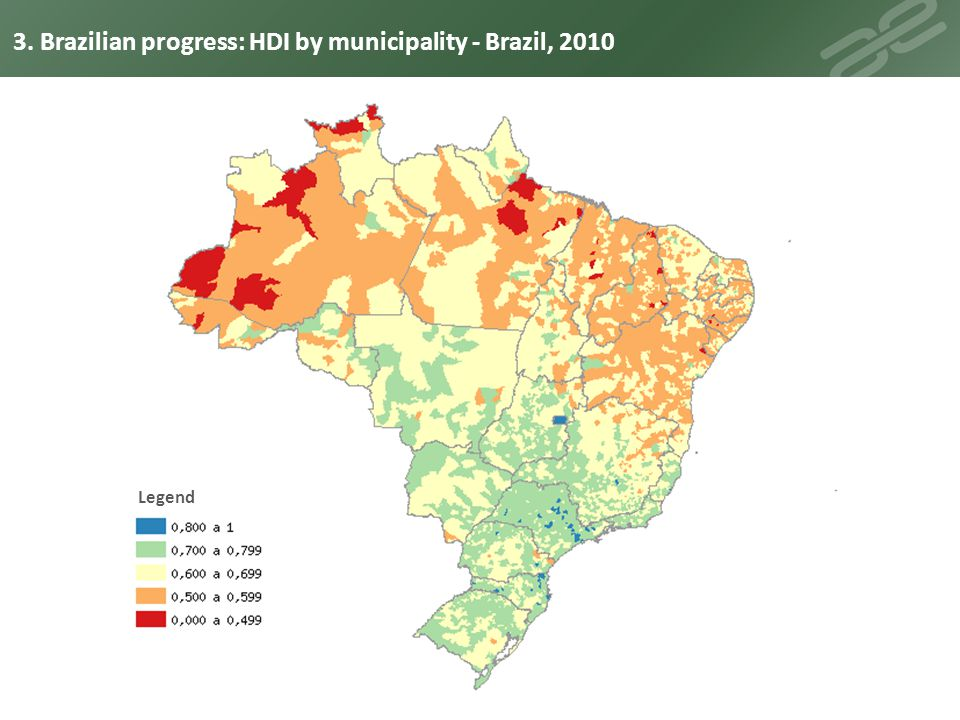 3. Brazilian progress: HDI by municipality - Brazil, 2010