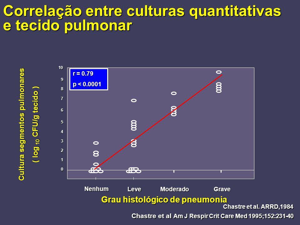 Correlação entre culturas quantitativas e tecido pulmonar