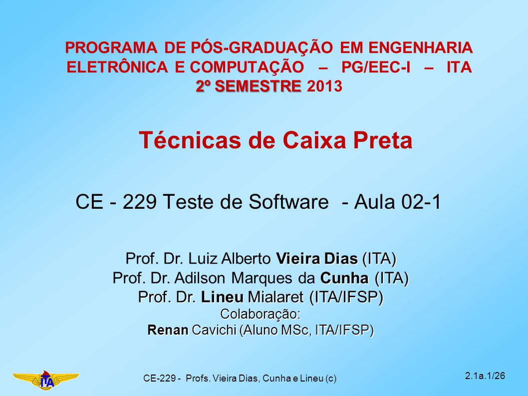CE - 229 Teste de Software - Aula 02-1