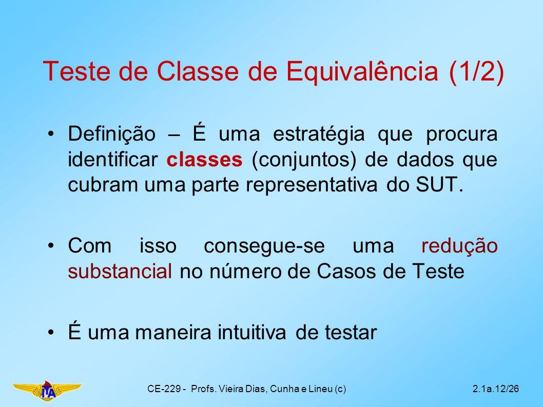 Teste de Classe de Equivalência (1/2)