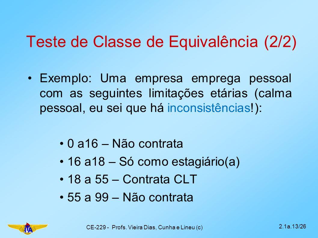 Teste de Classe de Equivalência (2/2)