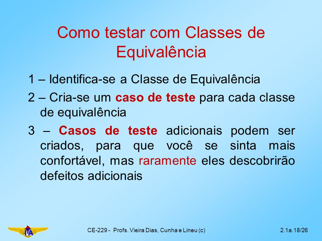 Como testar com Classes de Equivalência