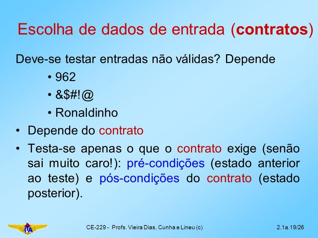 Escolha de dados de entrada (contratos)