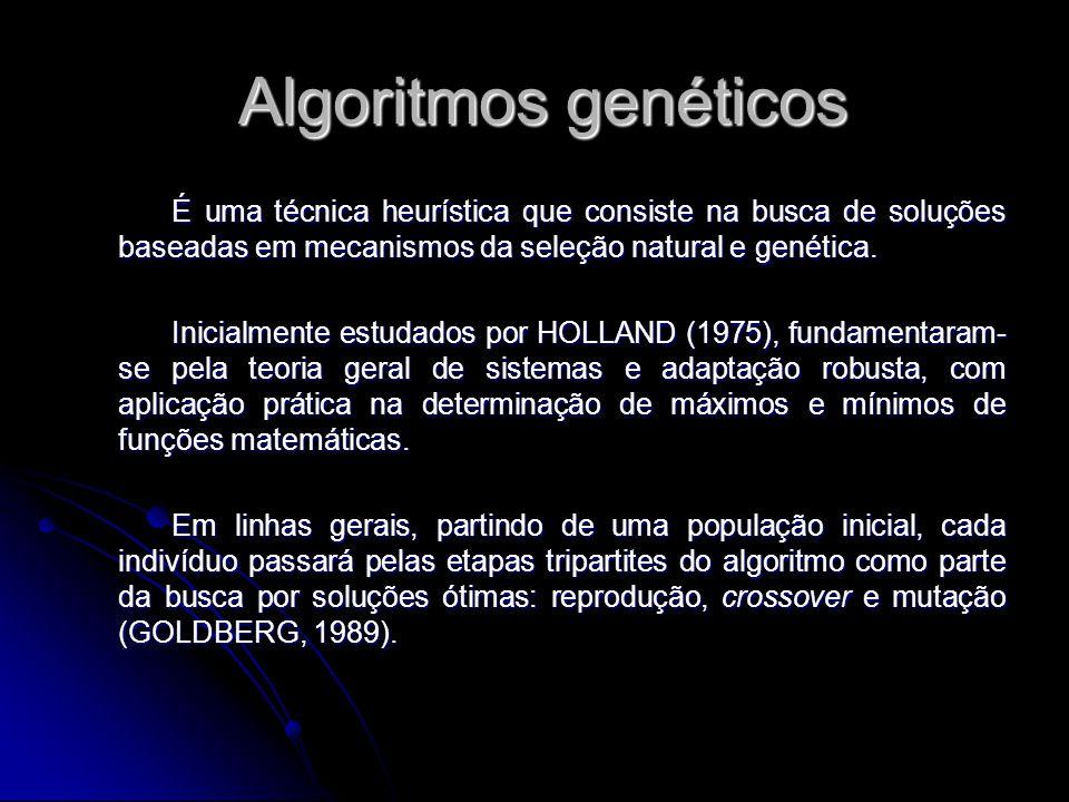 Algoritmos genéticos É uma técnica heurística que consiste na busca de soluções baseadas em mecanismos da seleção natural e genética.