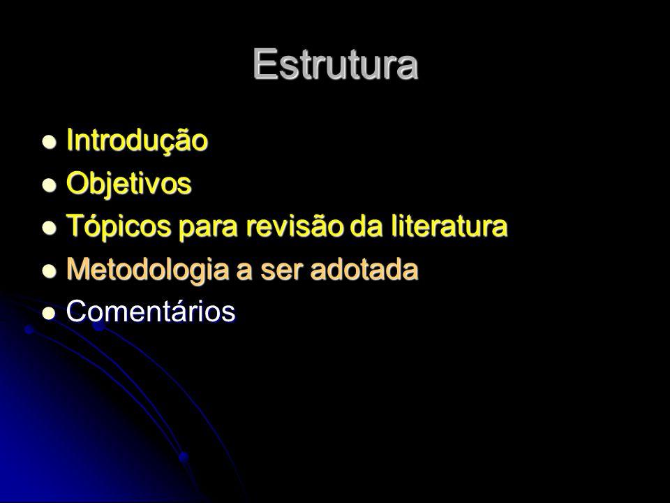 Estrutura Introdução Objetivos Tópicos para revisão da literatura
