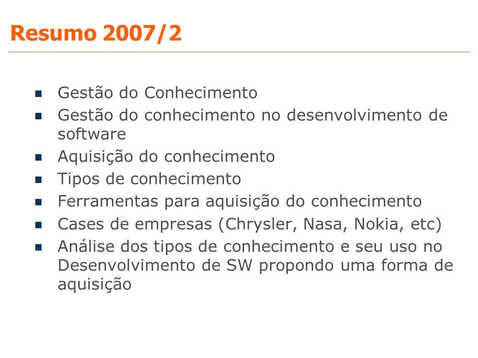 Resumo 2007/2 Gestão do Conhecimento