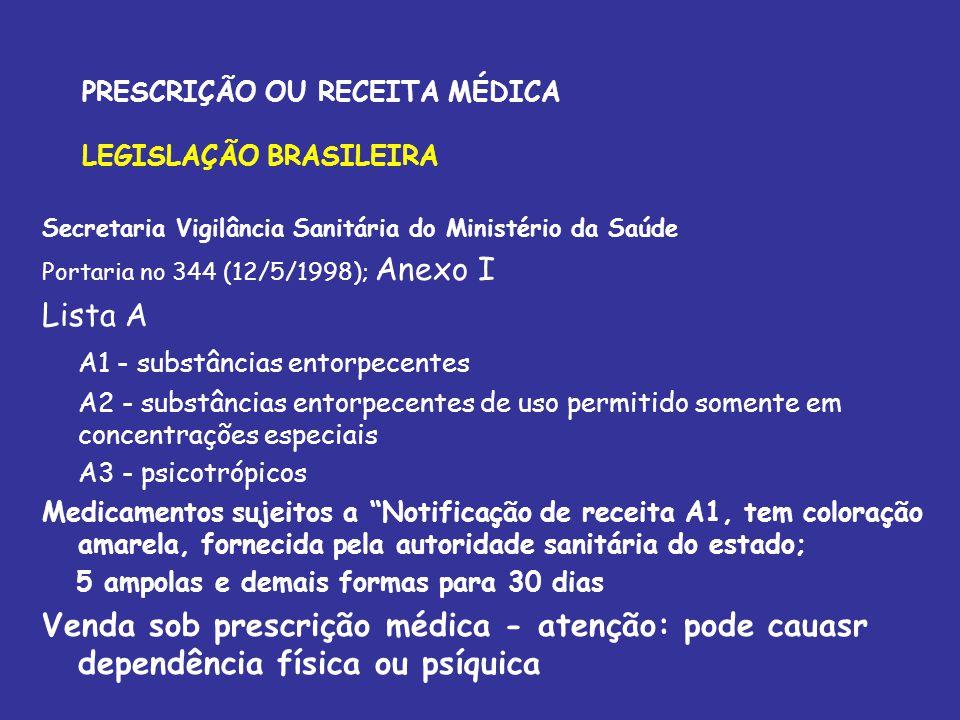 PRESCRIÇÃO OU RECEITA MÉDICA LEGISLAÇÃO BRASILEIRA