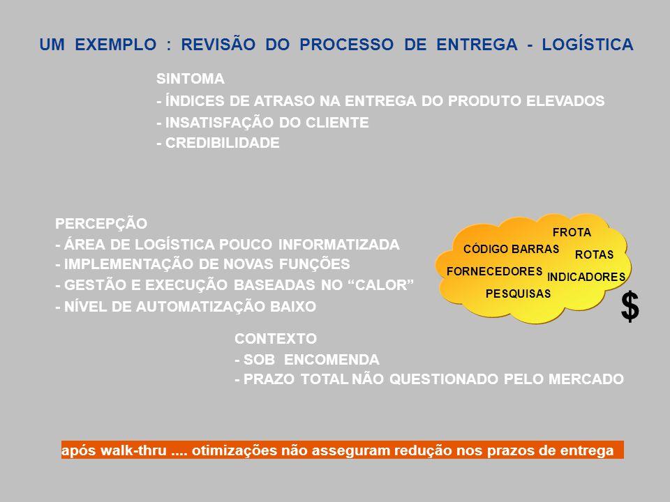 $ UM EXEMPLO : REVISÃO DO PROCESSO DE ENTREGA - LOGÍSTICA SINTOMA