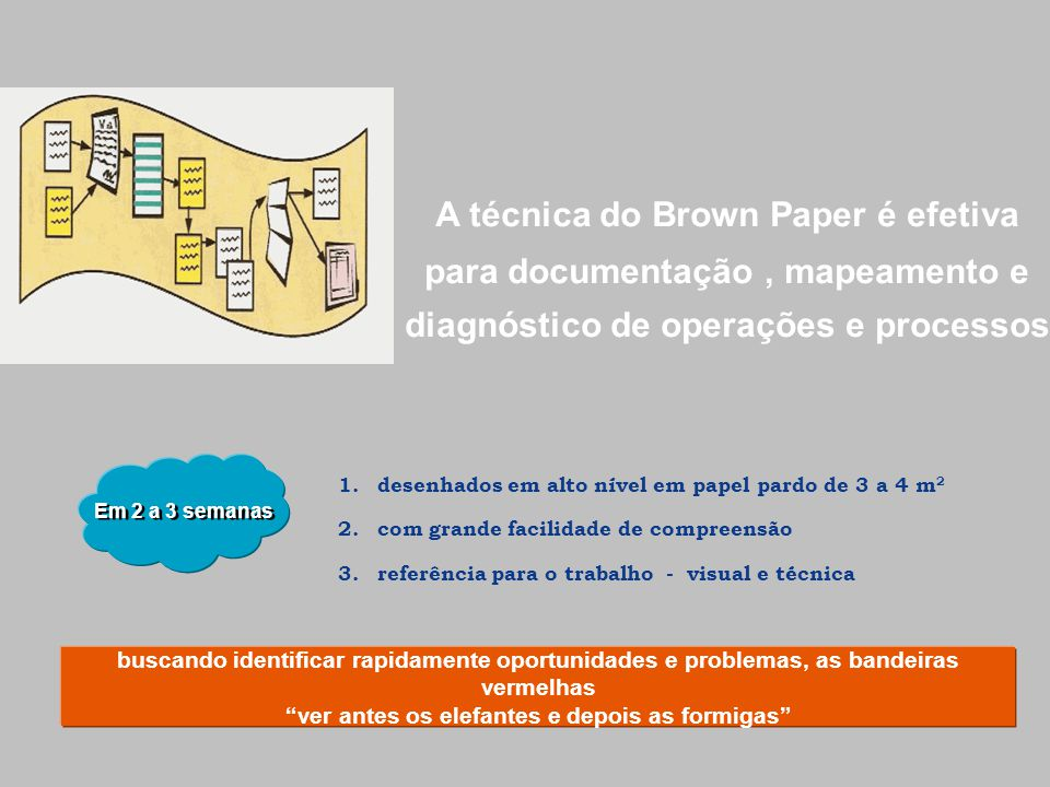 A técnica do Brown Paper é efetiva para documentação , mapeamento e