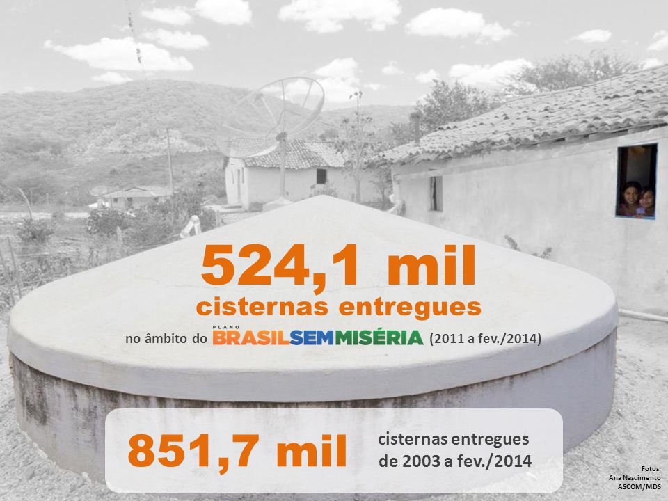 524,1 mil 851,7 mil cisternas entregues cisternas entregues