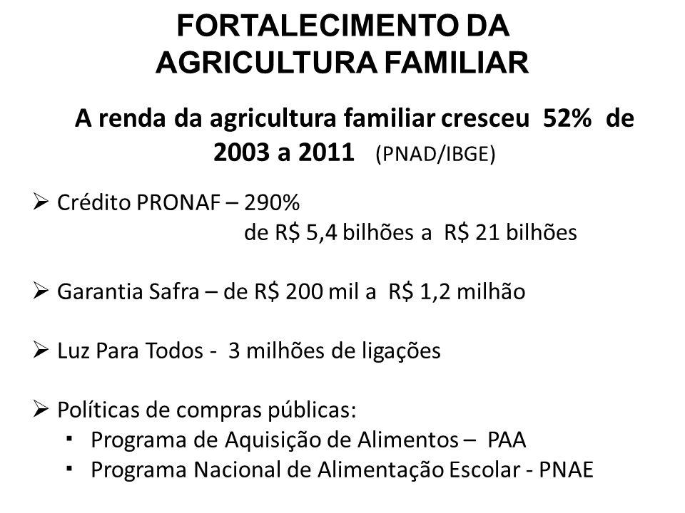 A renda da agricultura familiar cresceu 52% de