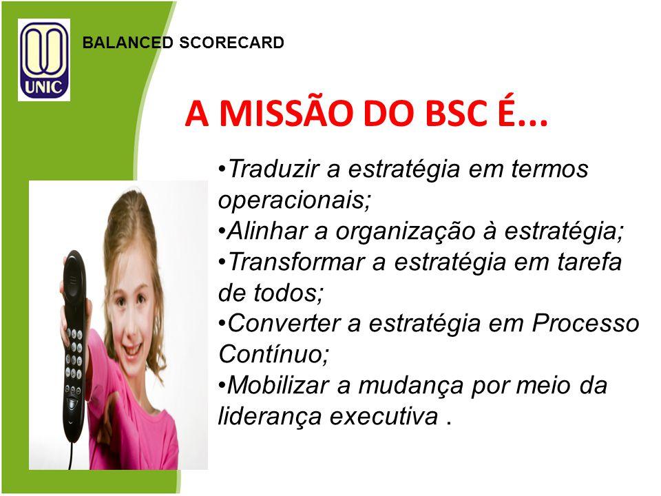 A MISSÃO DO BSC É... Traduzir a estratégia em termos operacionais;
