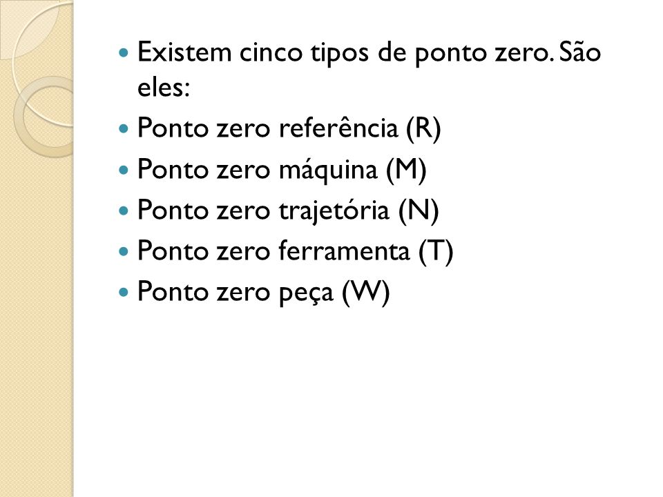 Existem cinco tipos de ponto zero. São eles: