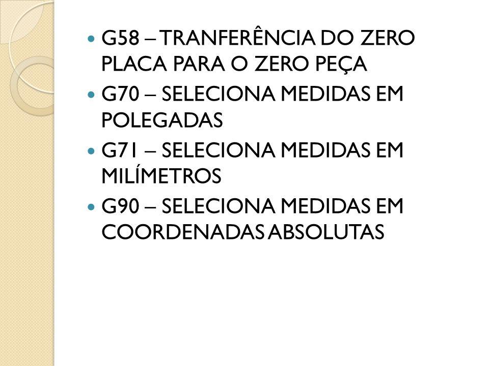 G58 – TRANFERÊNCIA DO ZERO PLACA PARA O ZERO PEÇA