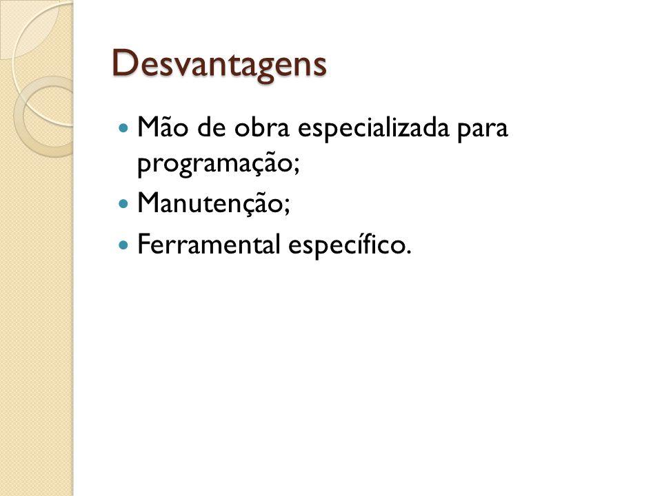 Desvantagens Mão de obra especializada para programação; Manutenção;