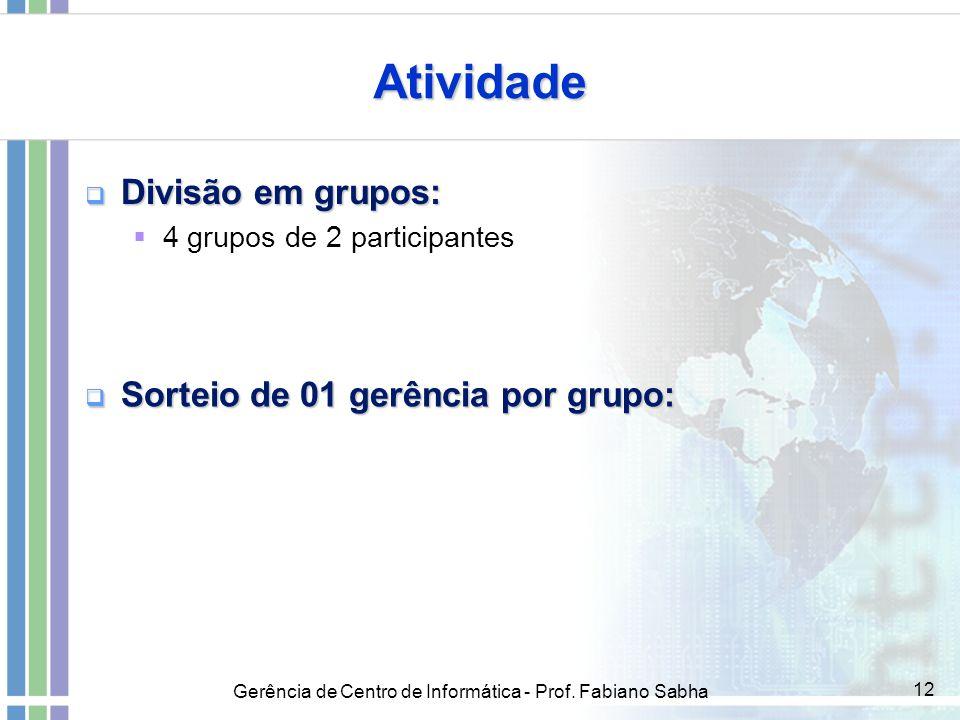 Atividade Divisão em grupos: Sorteio de 01 gerência por grupo: