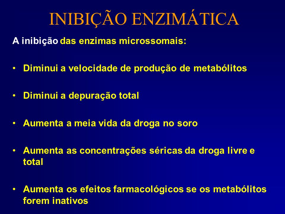 INIBIÇÃO ENZIMÁTICA A inibição das enzimas microssomais: