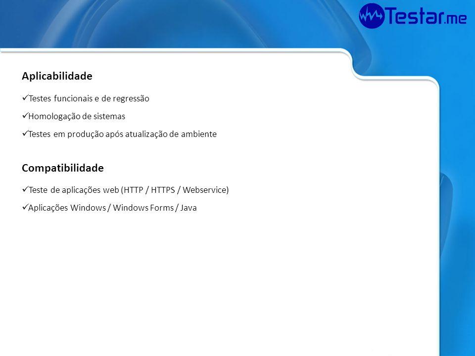 Aplicabilidade Compatibilidade Testes funcionais e de regressão