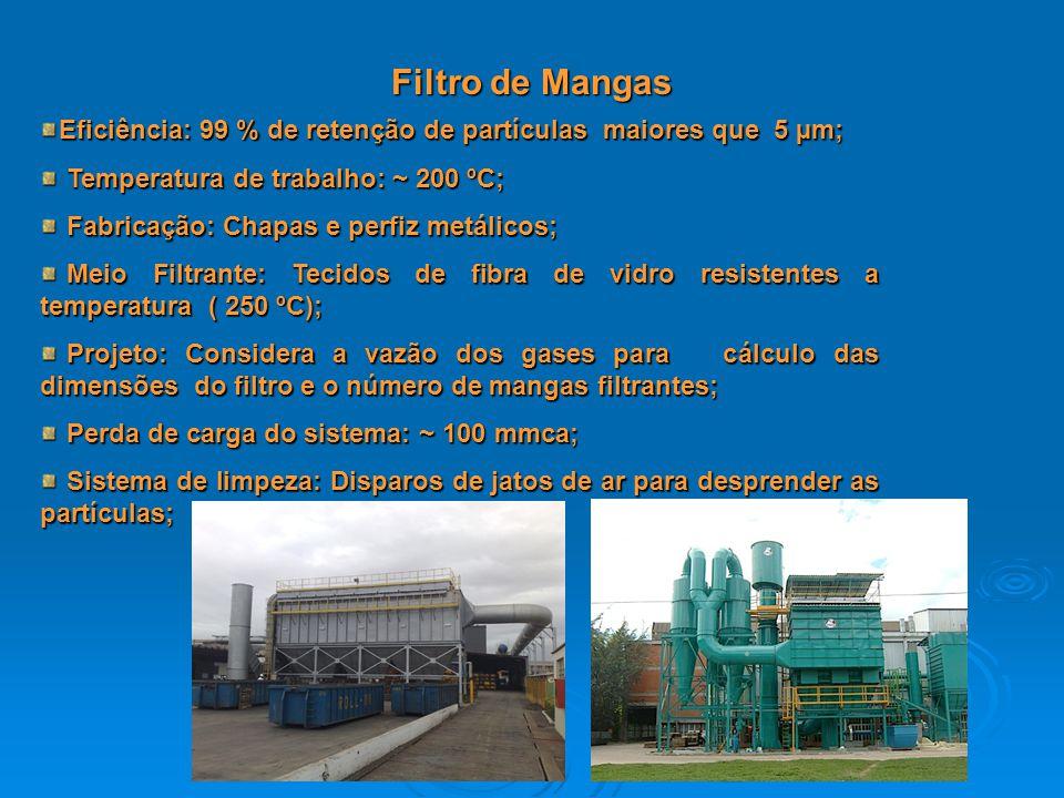 Filtro de Mangas Eficiência: 99 % de retenção de partículas maiores que 5 µm; Temperatura de trabalho: ~ 200 ºC;