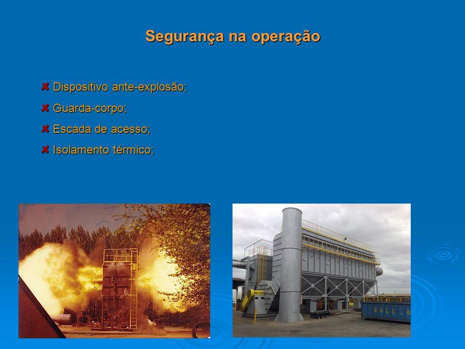 Segurança na operação Dispositivo ante-explosão; Guarda-corpo;