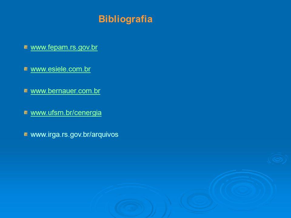 Bibliografia www.fepam.rs.gov.br www.esiele.com.br www.bernauer.com.br
