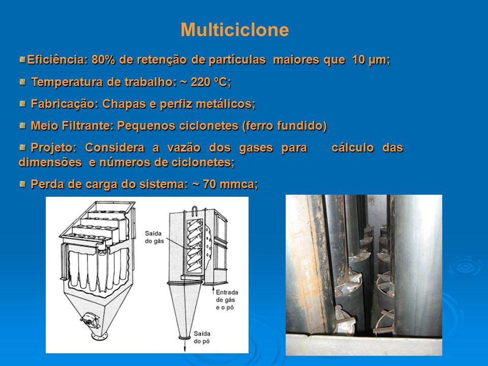 Multiciclone Eficiência: 80% de retenção de partículas maiores que 10 µm; Temperatura de trabalho: ~ 220 ºC;