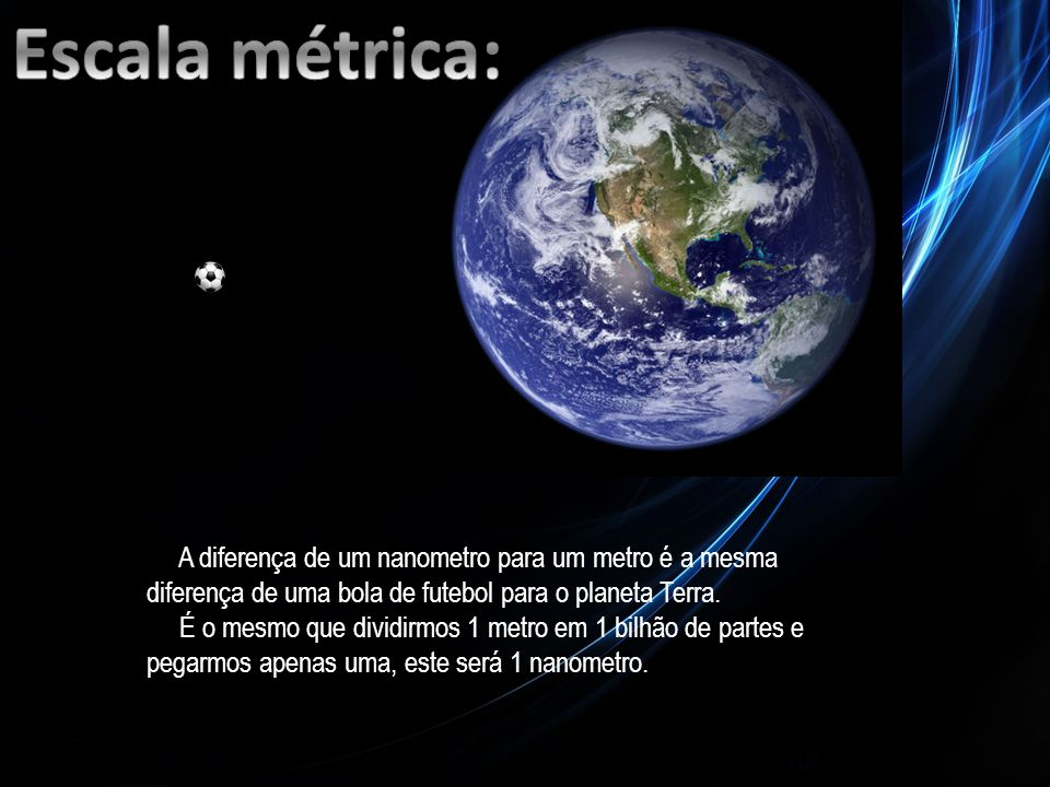 Escala métrica: A diferença de um nanometro para um metro é a mesma diferença de uma bola de futebol para o planeta Terra.