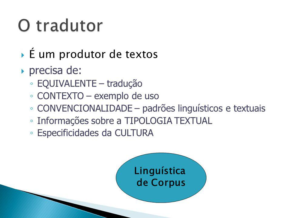 O tradutor É um produtor de textos precisa de: Linguística de Corpus