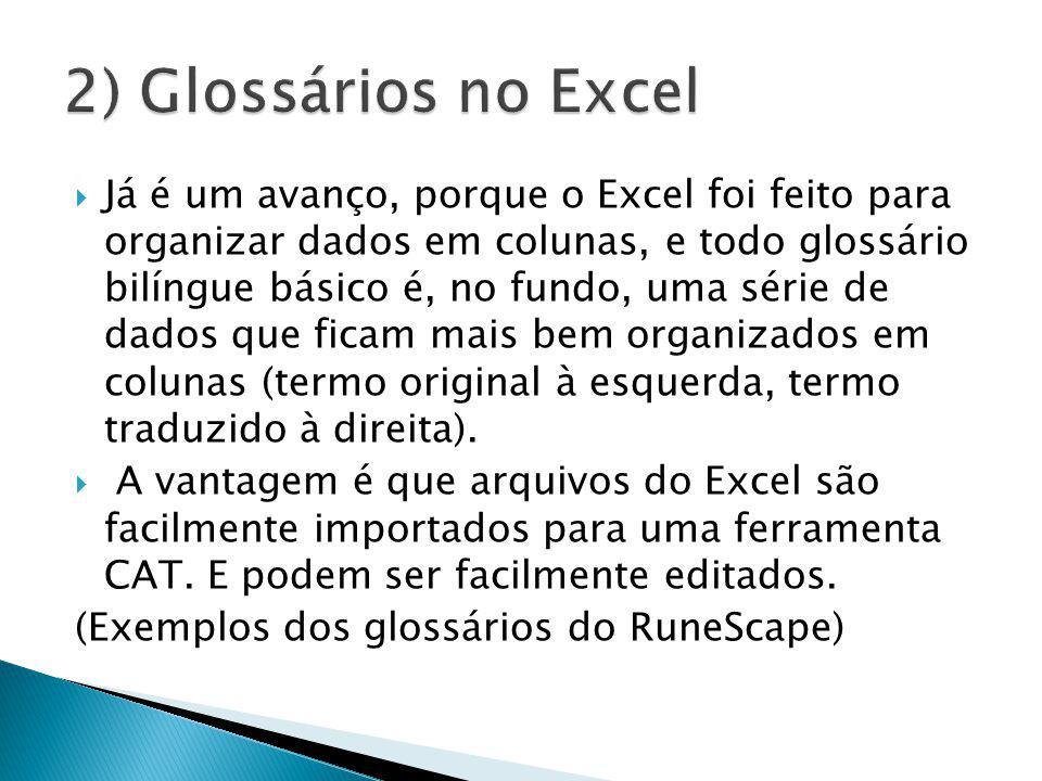 2) Glossários no Excel