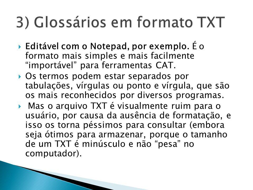 3) Glossários em formato TXT