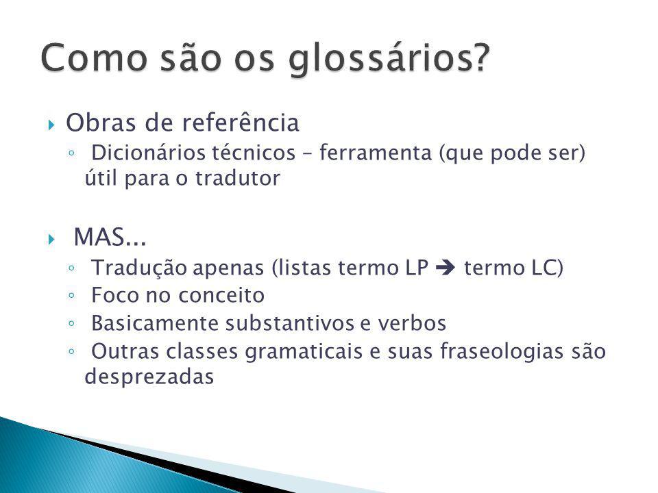 Como são os glossários Obras de referência MAS...