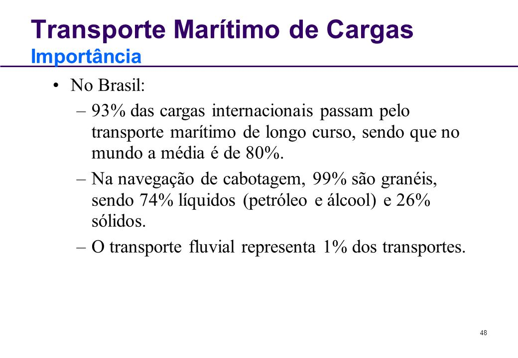 Transporte Marítimo de Cargas Importância
