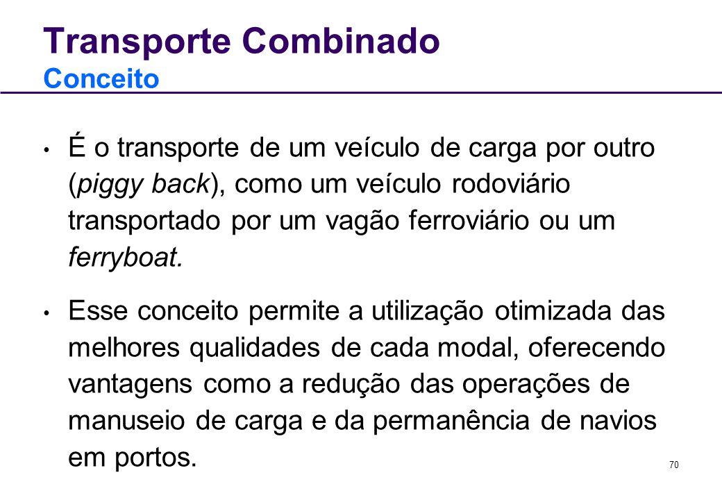 Transporte Combinado Conceito