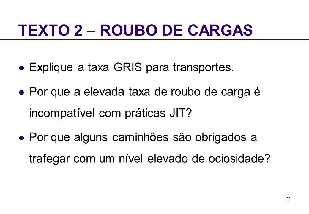 TEXTO 2 – ROUBO DE CARGAS Explique a taxa GRIS para transportes.