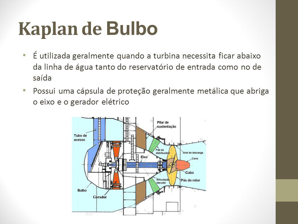 Kaplan de Bulbo É utilizada geralmente quando a turbina necessita ficar abaixo da linha de água tanto do reservatório de entrada como no de saída.