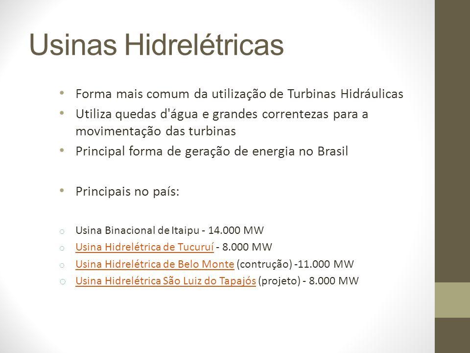 Usinas Hidrelétricas Forma mais comum da utilização de Turbinas Hidráulicas.