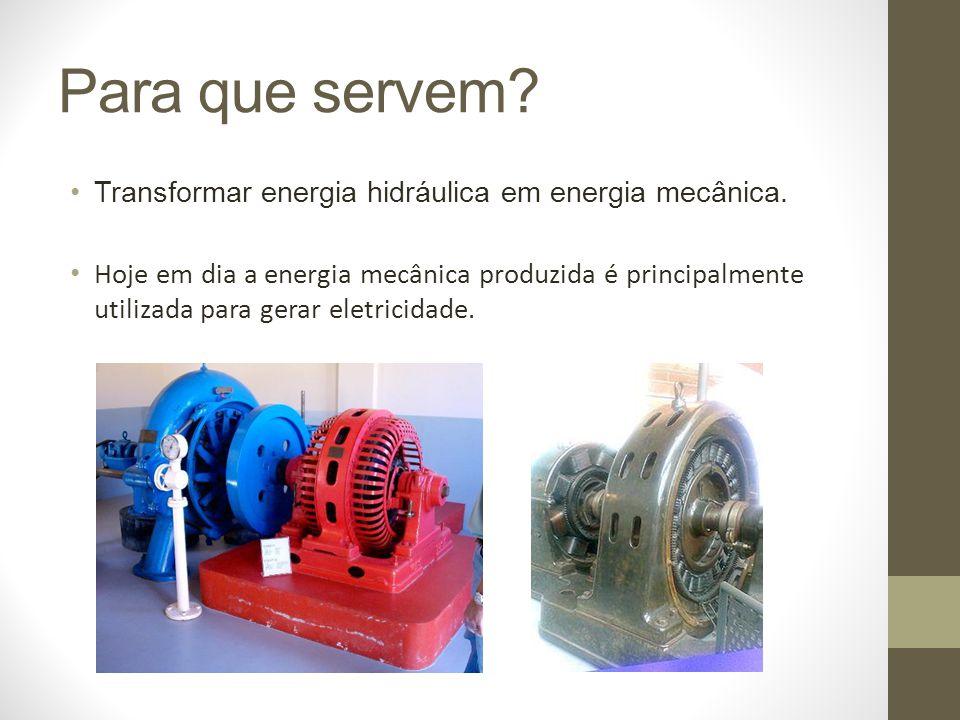 Para que servem Transformar energia hidráulica em energia mecânica.