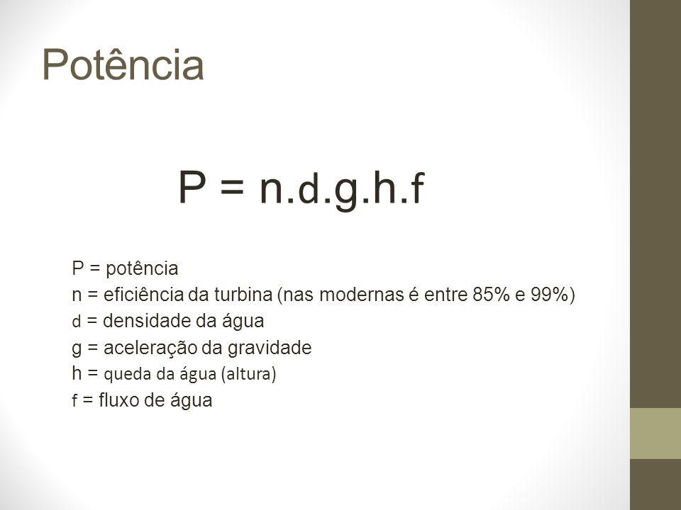 P = n.d.g.h.f Potência P = potência
