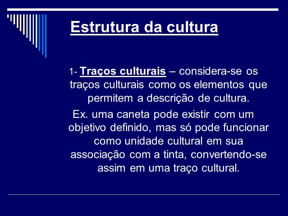 Estrutura da cultura 1- Traços culturais – considera-se os traços culturais como os elementos que permitem a descrição de cultura.