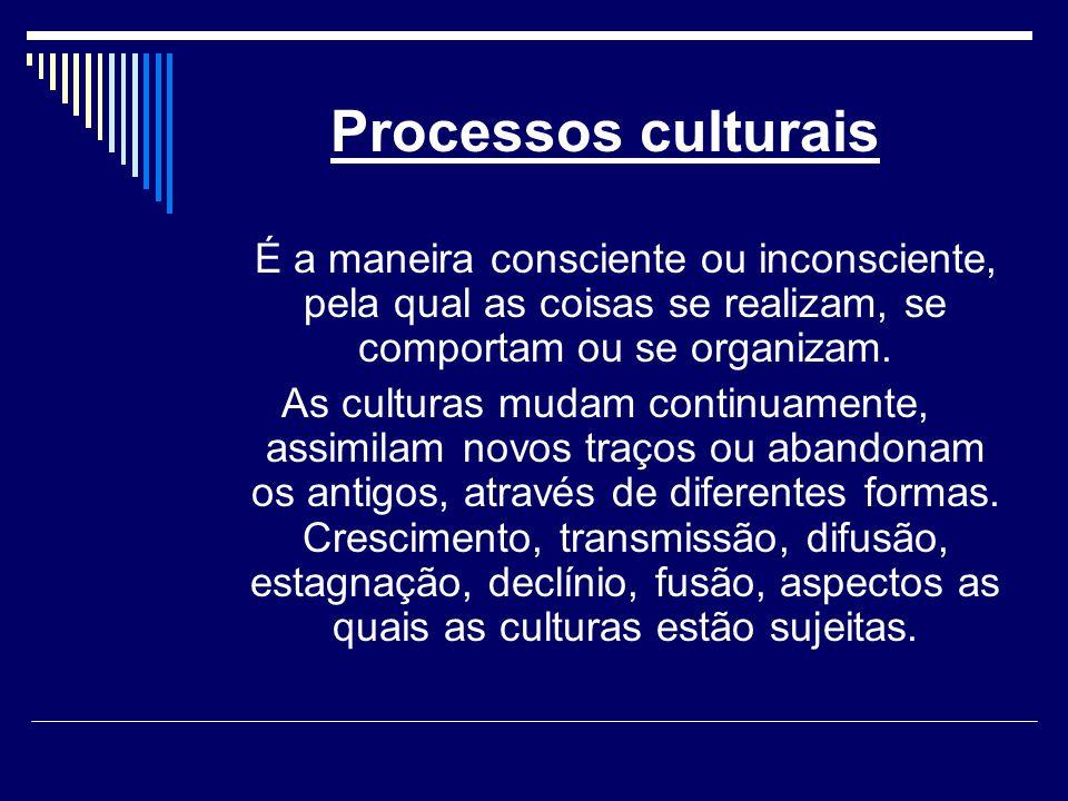 Processos culturais É a maneira consciente ou inconsciente, pela qual as coisas se realizam, se comportam ou se organizam.
