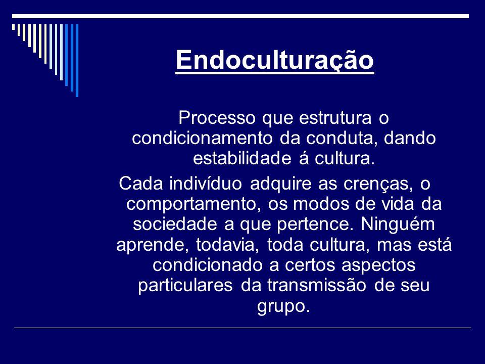 Endoculturação Processo que estrutura o condicionamento da conduta, dando estabilidade á cultura.