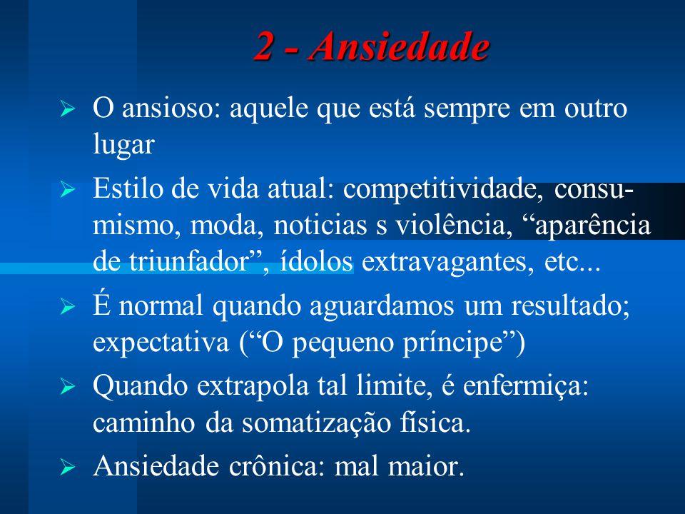 2 - Ansiedade O ansioso: aquele que está sempre em outro lugar