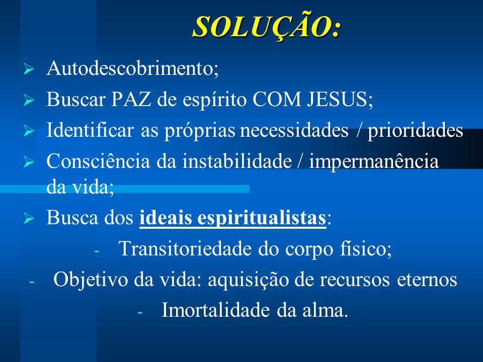 SOLUÇÃO: Autodescobrimento; Buscar PAZ de espírito COM JESUS;