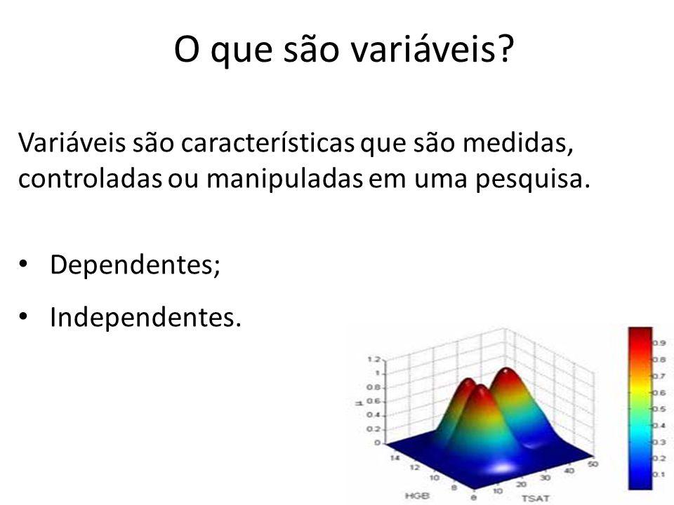 O que são variáveis Variáveis são características que são medidas, controladas ou manipuladas em uma pesquisa.