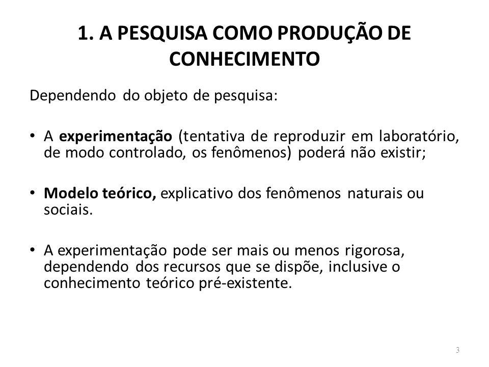 1. A PESQUISA COMO PRODUÇÃO DE CONHECIMENTO