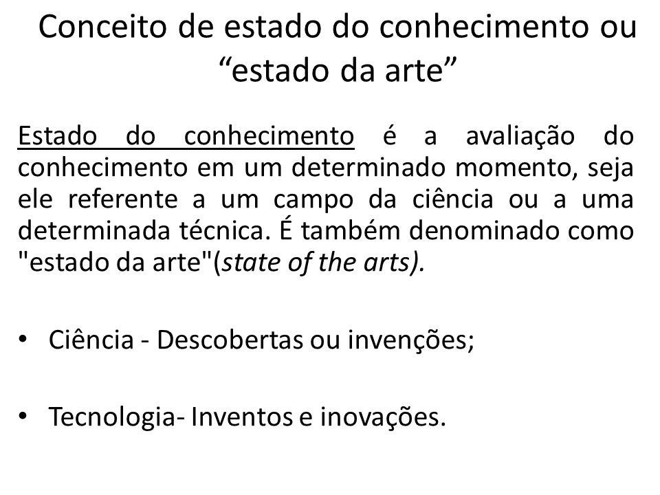 Conceito de estado do conhecimento ou estado da arte