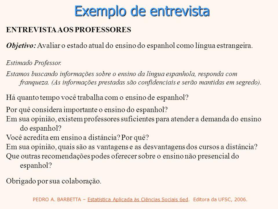 Exemplo de entrevista ENTREVISTA AOS PROFESSORES