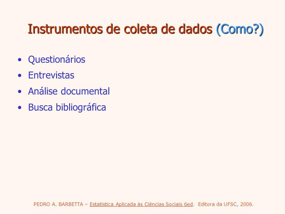 Instrumentos de coleta de dados (Como )