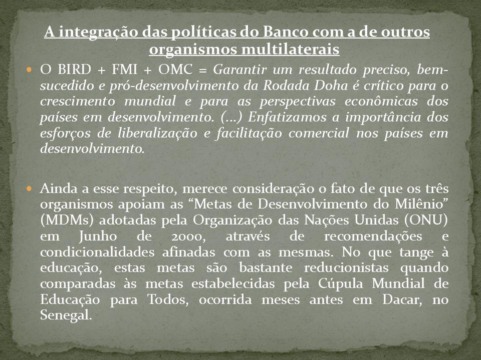 A integração das políticas do Banco com a de outros organismos multilaterais